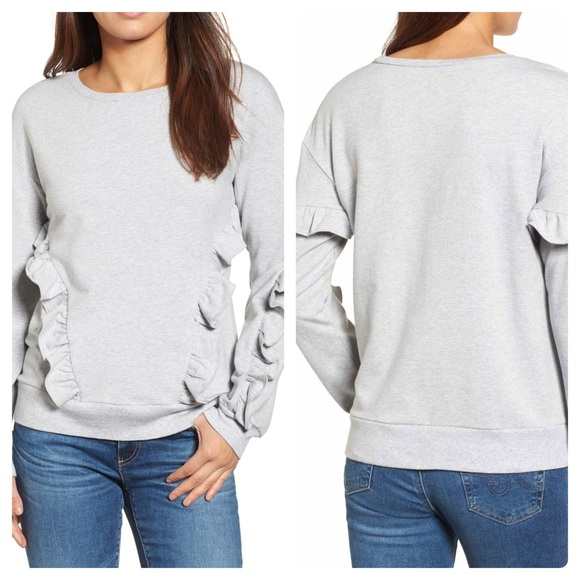 c59c7bb008cdb5 Halogen Gray Ruffle Detail Sweatshirt Size SP NWT